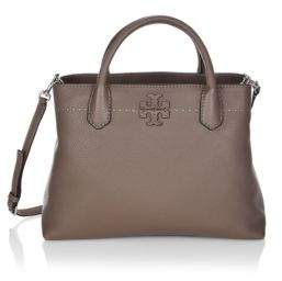 Tory Burch McGraw Leather Triple-Compartment Satchel - BLACK - STYLE