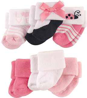 Luvable Friends Pink Ladybug Terry Six-Pair Socks Set - Infant