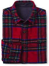 Lands' End Boys Husky Flannel Shirt-Jupiter Multi Plaid