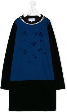 Simonetta pearl embellished neckline dress