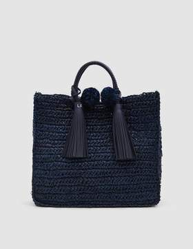 Loeffler Randall Straw Travel Tote in Eclipse