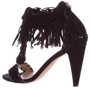 Reiss Fringe-Accented T-Strap Sandals