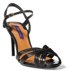 Ralph Lauren Astraia Nappa Leather Sandal Black 37.5