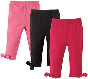 Hudson Baby Pink Knotted Ankle-Bow Leggings Set - Newborn & Infant