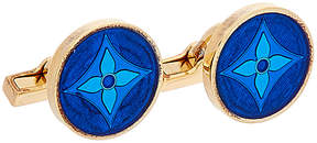 Louis Vuitton Gold-Tone Blue Enamel Flowery Cufflinks
