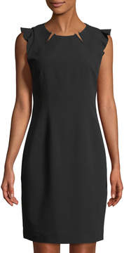 T Tahari Hardware-Front Ruffled-Cap-Sleeve Sheath Dress