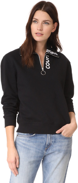 Courreges Sweat Shirt Logo Zipped Neck Logo