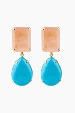 Bounkit Rose Quartz & Turquoise Removeable Drop Earrings