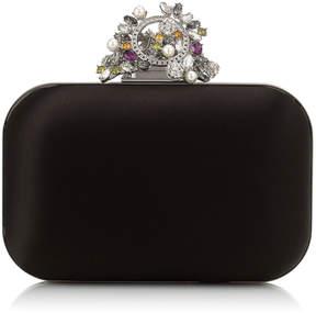 Jimmy Choo CLOUD Black Satin Box Clutch Bag