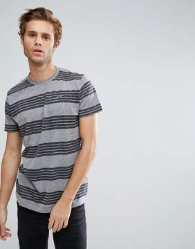 Hollister T-Shirt Slim Fit Stripe Crew in Gray