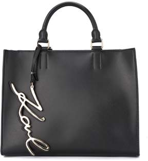 Karl Lagerfeld Signature Black Leather Handbag