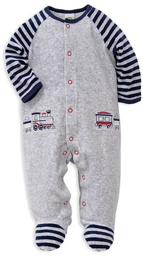 Little Me Boys' Train Stripe Velour Footie - Baby
