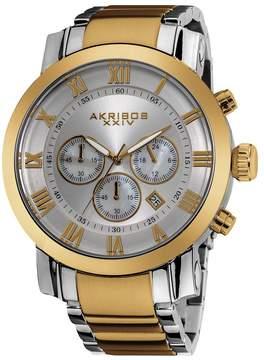 Akribos XXIV Akribos Grandiose Chronograph Silver Dial Two-tone Stainless Steel Men's Watch