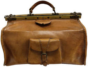 One Kings Lane Vintage Antique French Leather Travel Bag - Rose Victoria