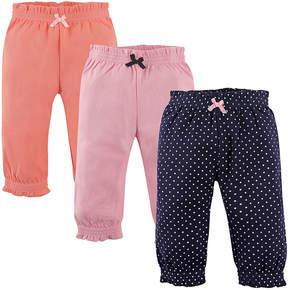 Hudson Baby Orange & Navy Pin Dots Joggers Set - Newborn & Infant