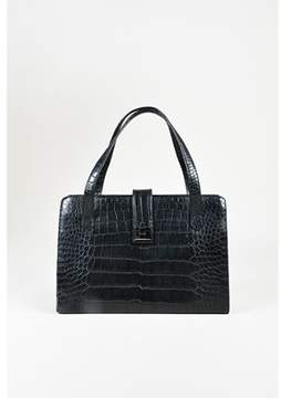 Ralph Lauren Pre-owned Black Crocodile Silver Tone Shoulder Bag.
