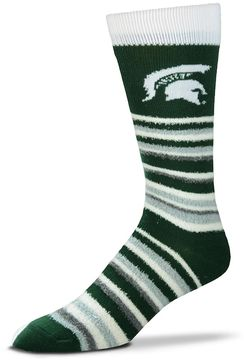 For Bare Feet Adult Michigan State Spartans Muchas Rayas Crew Socks