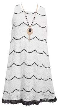 Iris & Ivy Girl's Lace-Scalloped Dress with Necklace