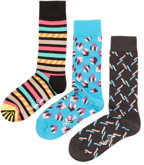 Happy Socks Men's Knit Cotton Intarsia Socks (3 PK)