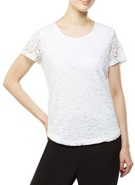 Allison Daley Petites Scoop Neck Scroll Lace Overlay Solid Tee