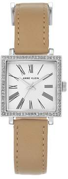 Anne Klein Silvertone Crystal-Accented Square Dial Tan Strap Watch