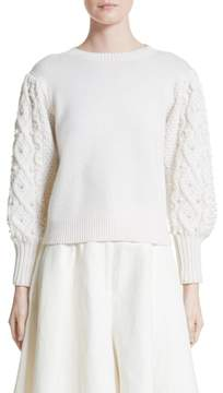 Co Imitation Pearl Embellished Wool & Cashmere Sweater