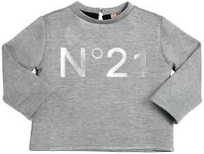 N°21 Logo Printed Neoprene Cropped Sweatshirt