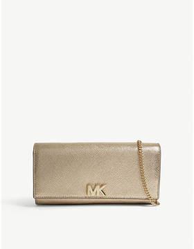 MICHAEL Michael Kors Michael Kors Pale Gold Mott Metallic-Leather Clutch Bag