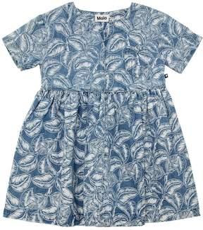 Molo Leafs Printed Cotton Denim Dress