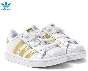 adidas White and Gold Superstar Infant Trainers