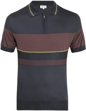Brioni Contrast-panel silk-blend knit polo shirt