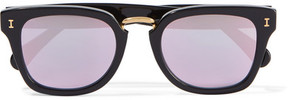 Illesteva Positano Square-frame Acetate Mirrored Sunglasses - Black
