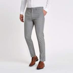 River Island Mens Grey check skinny fit suit pants
