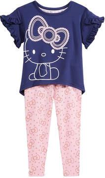 Hello Kitty 2-Pc. Flounce-Sleeve Top & Printed Leggings Set, Baby Girls