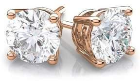 Alpha A A CZ 14kt Rose Gold Stud Earrings, 7mm