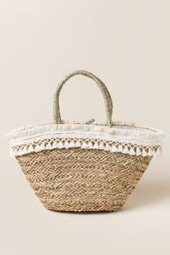 francesca's Carly Straw Tassel Tote - Natural
