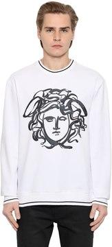 Paint Effect Medusa Cotton Sweatshirt