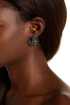 Stephen Dweck Sterling Silver Faceted Chrome Diopside, Amethyst, & London Blue Topaz Earrings