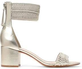 Rachel Zoe Metallic Leather And Woven Sandals