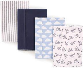 Hudson Baby White & Blue Cloud Burp Cloth - Set of Four
