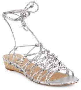 Tahari Caper Metallic Leather Cage Sandals