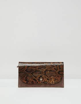 Asos DESIGN suede and snake mix stud foldover purse