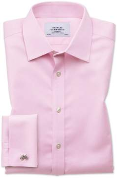 Charles Tyrwhitt Slim Fit Non-Iron Puppytooth Light Pink Cotton Dress Shirt French Cuff Size 16/33