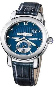 Ulysse Nardin Anniversary 160 Blue Dial 18kt White Gold Blue Leather Men's Watch 1600-100
