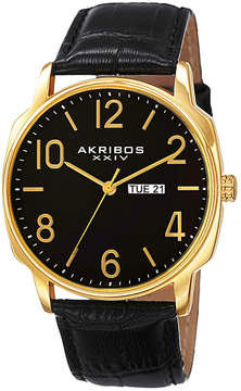 Akribos XXIV Mens Black Strap Watch-A-801yg