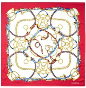 Aspinal of London Horseshoe Silk Scarf In Red