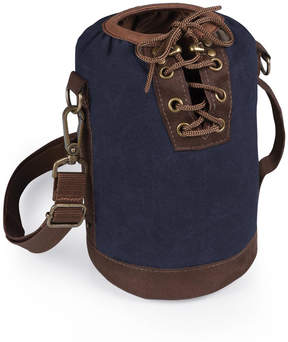Picnic Time Navy & Brown Insulated Growler Tote