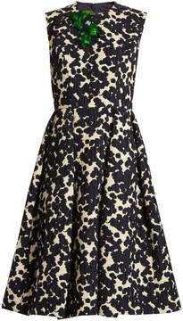 DELPOZO Floral-embellished cotton-blend dress