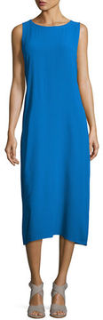 Eileen Fisher Sleeveless Bateau-Neck Silk Crepe Midi Dress
