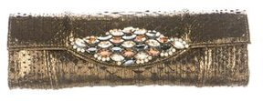 Carlos Falchi Crystal-Embellished Embossed Clutch